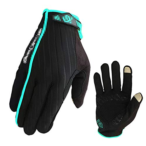 YCWY Riding Gloves, Road Racing Bicycle Gloves Shock-Absorbing Breathable Full Finger Gloves for Men/Women,Blue,XXL