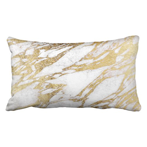 Musesh Accent Chic Elegant White and Gold Marble Pattern Cushions Case Throw Pillow Cover for Sofa Home Decorative Pillowslip Gift Ideas Household Pillowcase Zippered Pillow Covers 20X36Inch