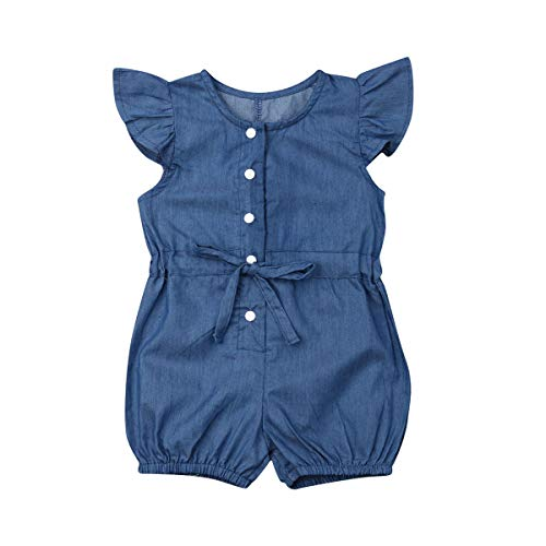 Toddler Little Girl Demin Off Shoulder Ruffle Pocket Romper Jumpsuit Clothes Set (Blue(Ruffle), 4-5T)