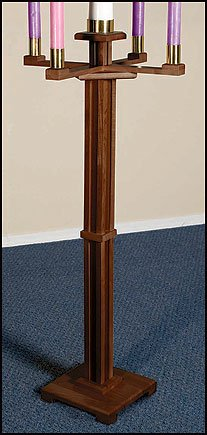 h Sized Standing Advent Candlestick Holder in Walnut Stain (Hardwood Hard Maple)