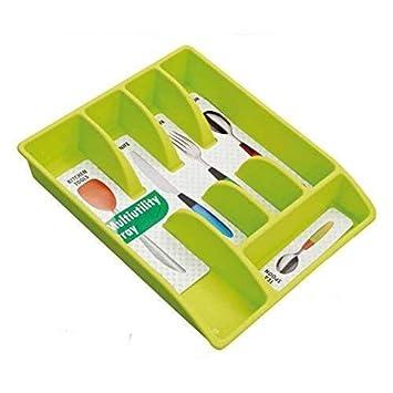 JVS Plastic Cutlery Organizer Tray, Apple Green Cutlery Racks