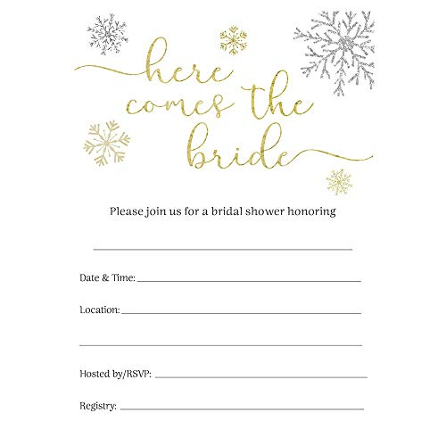 Winter Bridal Shower Invitations Wedding Invite Gold Silver White Black Snowflakes Glitter Sparkle Fill in The Blank (24 Count)