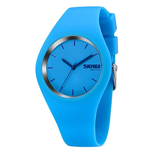 Fashion Sports Jelly Watches - Simple Casual Analog Watches Silicone Strap Wrist Watches Blue Watch -