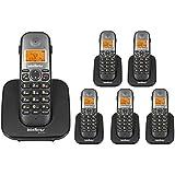 Kit Telefone Sem Fio TS 5120 + 5 Ramal TS 5121 Intelbras Viva Voz DECT 6.0 Preto