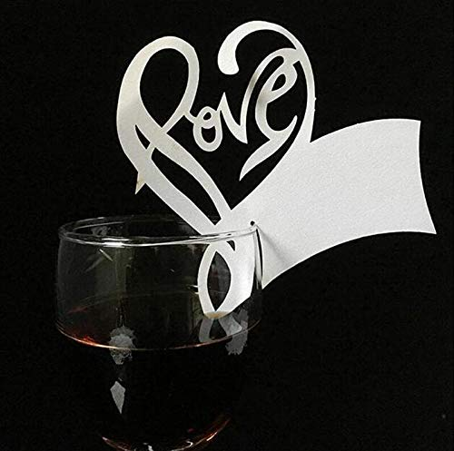 Goblet Place Card Holders - Wedding Card Table - Table Wedding Cards - Wedding Table Cards - 50pcs/lot White Butterfly Heart Laser Cut Table Mark Wine Glass Name Place Cards Wedding Birthday Baby Shower Christmas Supplies.