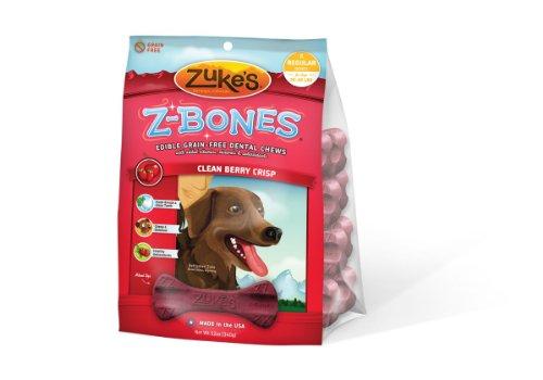 Zuke's Z-Bones Regular Grain Free Edible 8 Count Dental Chews, 1.5-Ounce ea, Clean Berry Crisp, My Pet Supplies