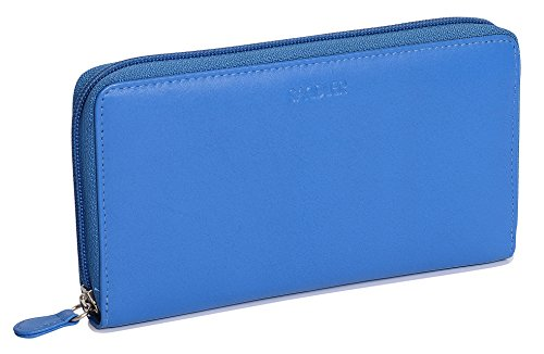 Saddler Womens Large Leather Wallet Credit Card Organizer Zipper Coin Purse - Electric Blue