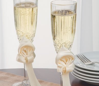 - Ivy Lane Design Calla Lily Wedding Collection, Crystal Toasting Flutes, Ivory