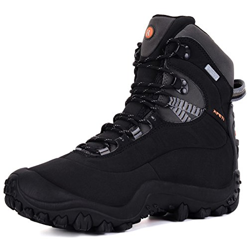 XPETI Women's Thermador Mid High-Top Waterproof Hiking Trekking Hunting Outdoor Snow All-Weather Protection Boot Black (Mid Womens Outdoor Boot)
