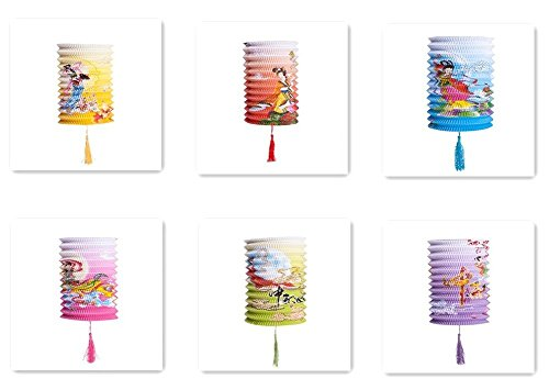 Set Of 6 Goddess Chang E Fly To The Moon Chinese Festival Party Celebration Home Decor Lanterns by THY COLLECTIBLES