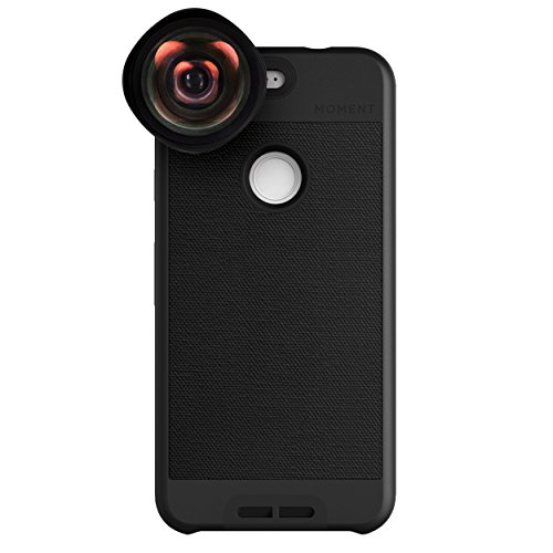 Google Pixel Case with Wide Lens Kit || Moment Black Canvas Photo Case plus Wide Lens || Best google wide attachment lens with thin protective case. by Moment