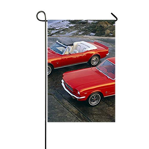 DongGan Garden Flag Muscle Cars 1964 Ford Mustang Hardtop Coupe 1967 Chevrolet Camaro Ss Convertible 12x18 Inches(Without Flagpole)