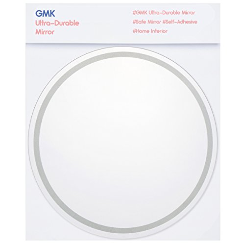 GMK Framed Acrylic Mirror with Shock Resistant Coating for Safety,Print Design,Easily Applicable and Self-Adhesive, DIY Small Mirrors, For Home and Bathrooms (Circle(Silver - Green Mirror Framed
