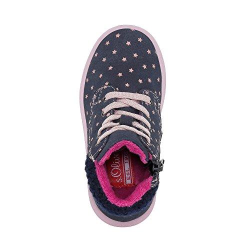 s.Oliver Mädchen 36210 Hohe Sneaker marine/rosa