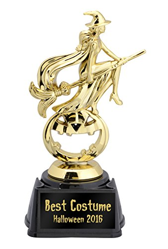 Witch on a Broomstick Halloween Trophy—Choose from 5 Plates