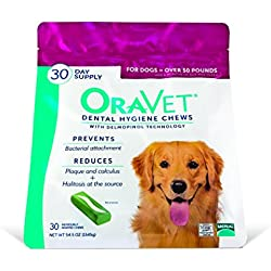 Merial Oravet Dental Hygiene Chew for Large Dogs (50 lbs and over), Dental Treats for Dogs, 30 Count (Discontinued by Manufacturer)