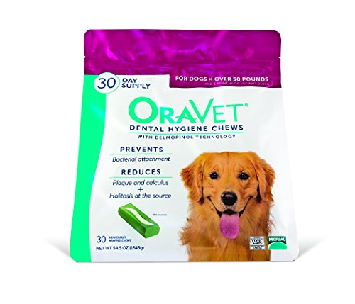 - Merial Oravet Dental Hygiene Chew for Large Dogs (50 lbs and over), Dental Treats for Dogs, 30 Count (Discontinued by Manufacturer)