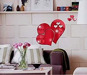 ملصقات حائط مرآة Love DIY ملصقات للمنزل قابلة للاستخدام لتزيين شكل قلب جديد على شكل مرايا ديكور عالية الجودة