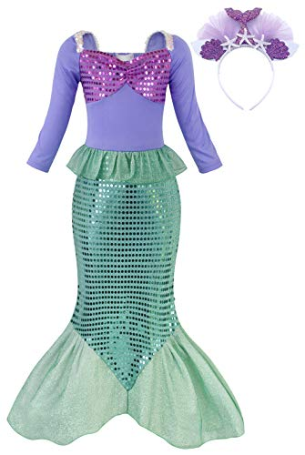Mermaid Fancy Dress Costume (AmzBarley Ariel Outfit Princess Mermaid Costume for Girls Fancy Party Dress up Kids Sequins Tails Clothes Halloween Holiday Cosplay Outfit with Headband Size)