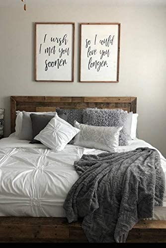 Amazon Com Celycasy Bedroom Wall Decor I Wish I Met You Sooner So I Could Love You Longer Farmhouse Bedroom Decor Rustic Signs Framed Sign Wood Sign Home Kitchen