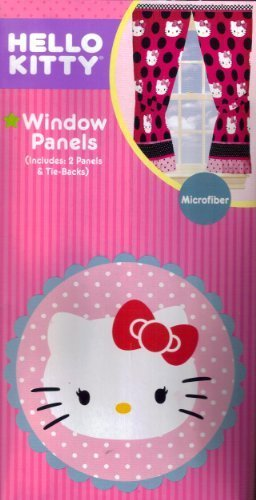 Hello Kitty Dotted With Pink Window Panels Curtains Drapes Drapery