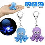 Glumes Cute Octopus Keychain with LED Flashlight and Sound Effects 3D Cute Cartoon Key Holder For Children Designer Key Ring for Kids Christmas Thanksgiving Gift 1 PCS (Purple)