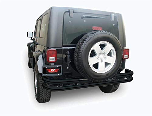 Rampage Products 88648 Textured Black Double Tube Rear Bumper for Products JK for 2007-2018 Jeep Wrangler JK ()