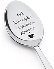 Let's Have Coffee Together Forever- Stainless Steel Espresso Spoons - Engraved Spoon - Cute coffee lovers Gift for Friends Who Are Moving Away - by Boston Creative company # A44 by Boston Creative company LLC