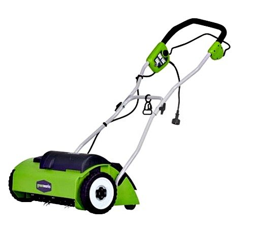 Greenworks 14-Inch 10 Amp Corded Dethatcher 27022 (Electric Reel Mower)