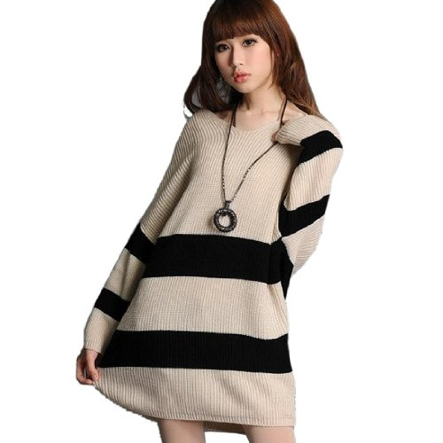 Partiss Womens Strip Thicken Warm Sweater,Large,Beige