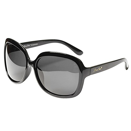LianSan Women's Oversized Polarized Sunglasses Lsp301 (polarized black)