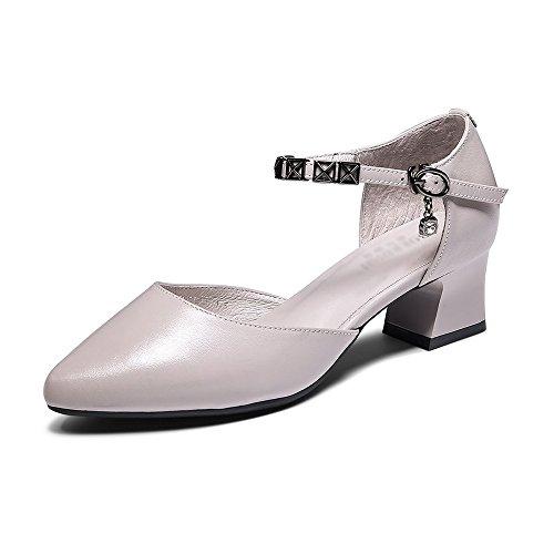 Tacco Sandali Caviglia Scarpe da Sandali Donna con Medio alla Cinturino Scarpe A Casual Basse con da Ginnastica da GLJXG Punta a Donna w0qTtan