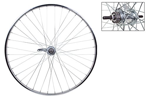 Silver Cruiser Bike - WheelMaster Rear Bicycle Wheel with Coaster Brake, 26 x 1 3/8 36H, Steel, Bolt On, Silver