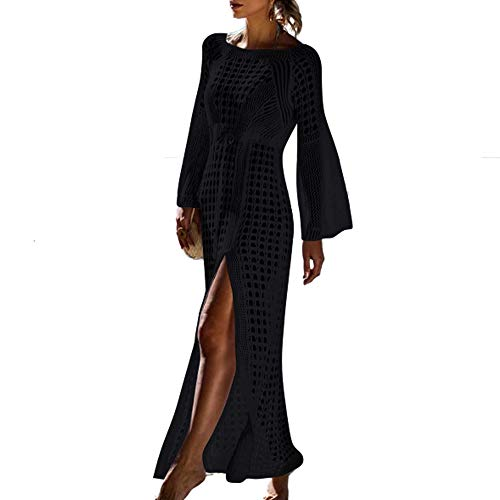 Saherewanr Women's Swimsuit Cover Up Dress Long Bathing Kimono Beach-wear Stripe Lace Maxi Skirt Boho Loose Floral (Black)