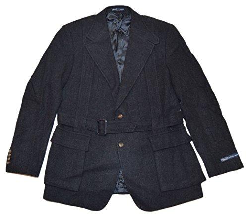 (Ralph Lauren Polo Mens Hacking Wool Blazer Belted Jacket Italy Black Grey 44L)