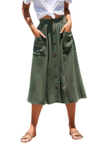 Miessial Women's Cotton Linen Solid Casual A-line Midi Skirts Button Down Long Skirts with Pocket Army Green 4/6
