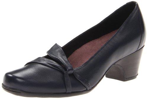 CLARKS Women's Navy Leather Sugar Plum 9 B(M) ()