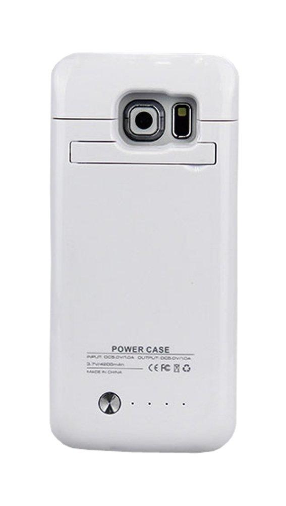 Amazon.com: Galaxy S6 Edge Estuche Protector Blanco con Batería Incluida, Nuevo 4200mAh Ultra Delgado Recargable Cargador Protector para Samsung Galaxy S6 ...