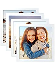 """Peel, Stick, Re-arrange, No Nail Needed and No Mark without damage - Restickable Photo Tiles 8"""" x 8"""" Square Picture Frame, set of 4"""