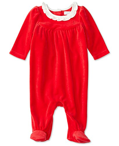 Ralph Lauren Polo Baby Girls Red Velour Coverall Romper (9 Months)