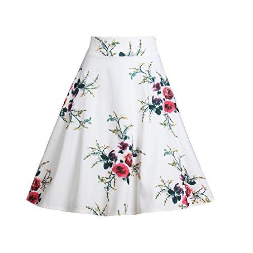 imprim Femmes Line Jupe Oudan Jupe Maxi Longue Haute Femmes mi Jupe Taille A Swing Blanc Floral 1wFw4Oq