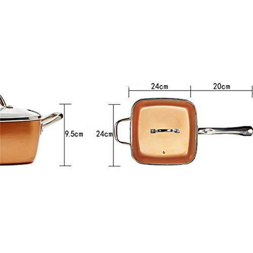 4 Piece Set Copper Square Pan,Induction For Chef Glass Lid,Fry Basket,Steam Rack