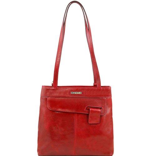 Tuscany Leather Martina Bolso de señora en piel convertible en mochila Marrón oscuro Mochilas en piel Rojo