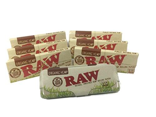 Tobacco Rolling Tin (Raw Organic Hemp 1 1/4 Rolling Papers - 6 Pack Plus Raw Organic Paper Tin)