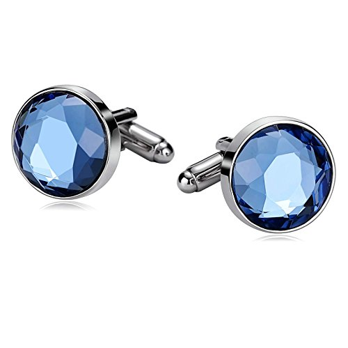 Crystal Cufflinks Round (Daesar Stainless Steel Round Circular Crystal Blue Men's Cuff Links)