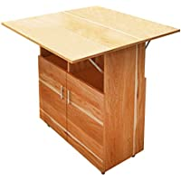 DL furniture Wood Drop-Leaf Kitchen Island & Cart | Dining Table | Rolling Storage | Wine Rack | Natural Wood (Need to Assemble)