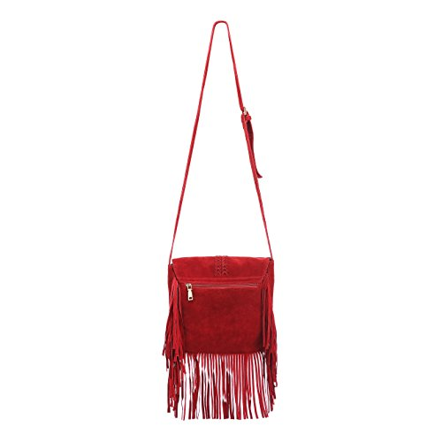 ZLYC Bag Red Body Shoulder Bohemian Fringe Nubuck Cross Tassel Women Tribal Pouch Leather Bag qAXqr