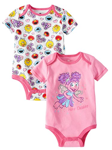 Sesame Street Abby Cadabby Fairy Themed Infant Bodysuit 2-Pack Pink White Tee-Shirts 0-3 Month Size