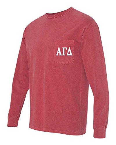 Alpha Gamma Delta AGD Sorority Comfort Colors Pocket Long Sleeve Shirt (Small, Crimson)
