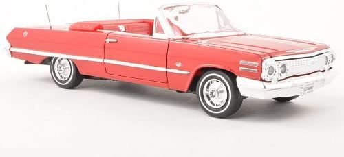 1963 Chevy Impala Convertible Diecast Car 1:24 Welly 8 inch Red LOOSE NO BOX